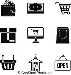 Supermarket buying icons set, simple style