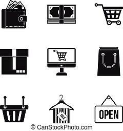 Supermarket buying icons set, simple style