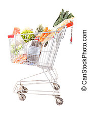 Supermarket car - A supermarket car, isolated over a white...