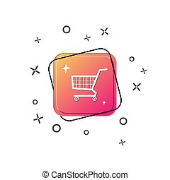 Supermarket cart icon. Purple square button. Flat design