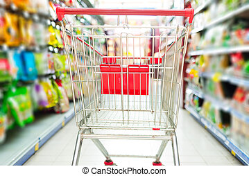 supermarket cart - Supermarket interior, empty red shopping...