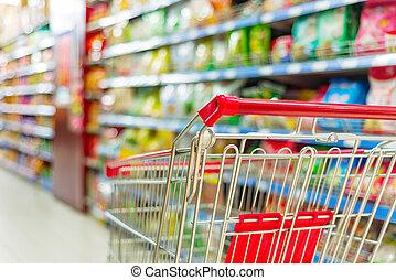 supermarket cart - Supermarket interior, empty red shopping...
