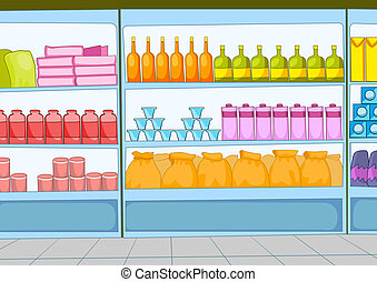 Supermarket Cartoon - Supermarket with Long Shelfs. Vector...