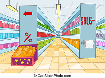Supermarket with Long Shelfs. Vector Cartoon Background.