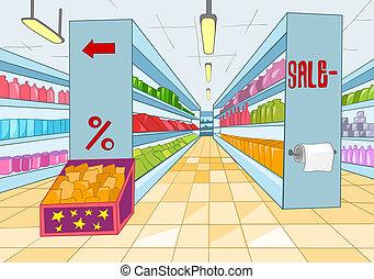 Supermarket Cartoon - Supermarket with Long Shelfs. Vector...