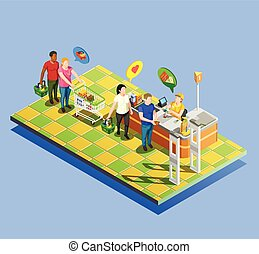 Supermarket Checkout Isometric Composition