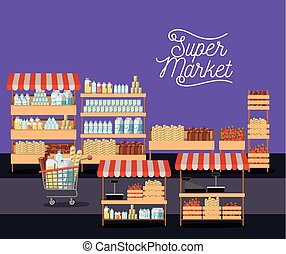 supermarket colorful poster of shelves with foods and beverages and trolley