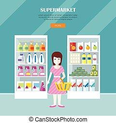 Supermarket Concept Web Banner in Flat Design.