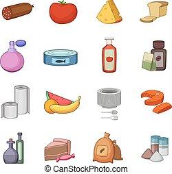 Supermarket department icons set, cartoon style