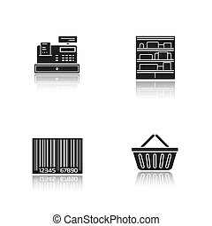 Supermarket drop shadow black icons set