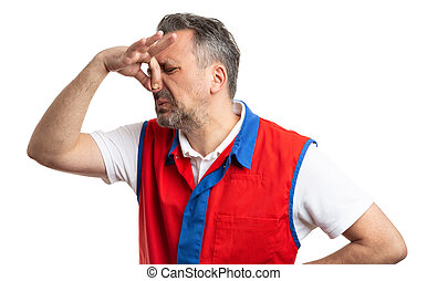 Supermarket employee holding nose as bad smell concept