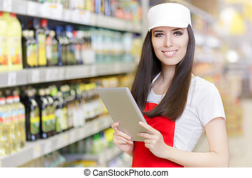 Supermarket Employee with Tablet