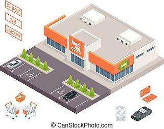 Supermarket exterior, credit cart, pos terminal, box,...