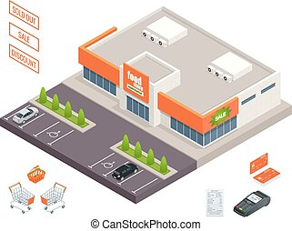 Supermarket exterior, credit cart, pos terminal, box,...