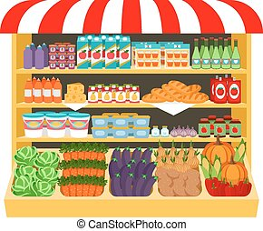 Supermarket. Food on shelves eggplant cabbage carrot peppers onions corn bread potatoes. Shopping and fresh. Vector illustration
