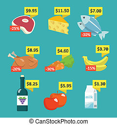 Supermarket food with price tags