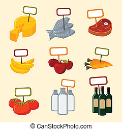 Supermarket foods items with blank signs - Supermarket foods...