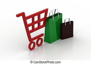 supermarket full shopping trolley cart