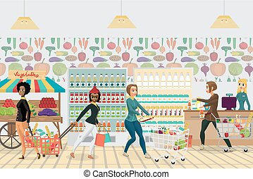 Supermarket grocery store. Women buy food, milk, vegetables and fruits. Flat cartoon vector illustration