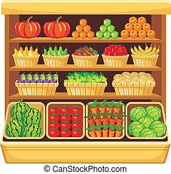 supermarket., groentes, en, fruits.