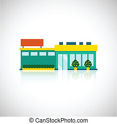 Supermarket icon flat