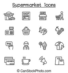 Supermarket icon set in thin line style
