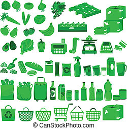 a huge set of icons related to supermarkets and shopping