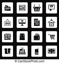 Supermarket icons icons set, simple styl