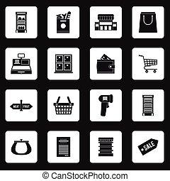 Supermarket icons icons set, simple style.