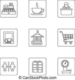 Supermarket icons set, outline style - Supermarket icons...