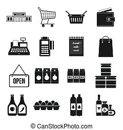 Supermarket icons set, simple style