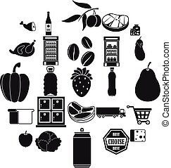 Supermarket icons set, simple style