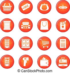 Supermarket icons vector set