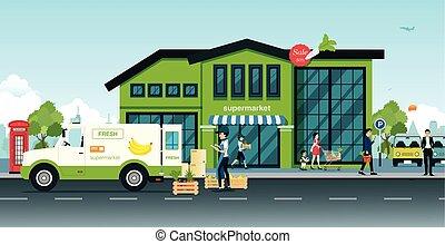 supermarket - Delivery trucks bring vegetables and fruit...