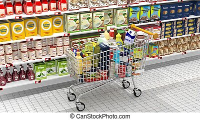 Supermarket interior and shopping cart with various products...