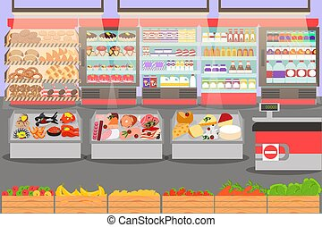 Shop, supermarket interior with different sections. big ...