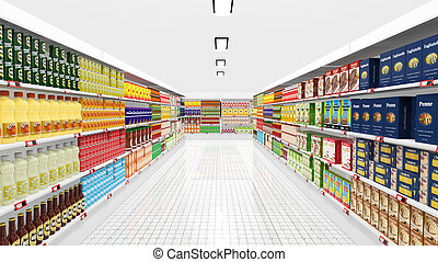 Supermarket interior with shelves and various products