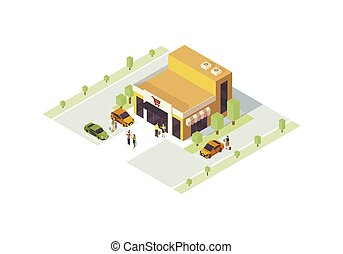Supermarket isometric color vector illustration