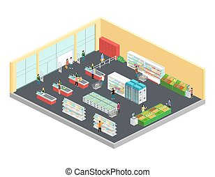 Supermarket Isometric Composition