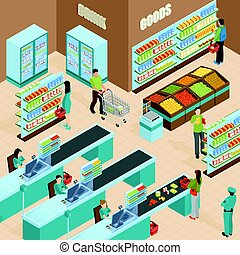 supermarket, isometric, design, pojem