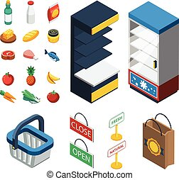 Supermarket Isometric Icon Set