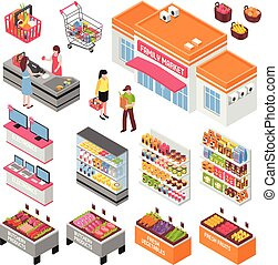 Supermarket Isometric Set