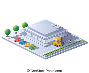 Supermarket - isometric view of a supermarket on a white ...