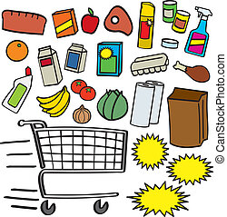Supermarket Items - A colorful collection of various cartoon...