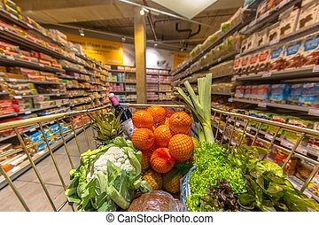 supermarket, kára, s, produkt
