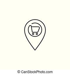 supermarket location line icon on white background