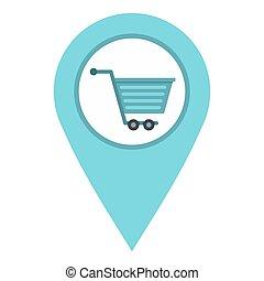 supermarket, lokalisering, ikon, isolerat