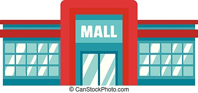 Supermarket mall icon, flat style