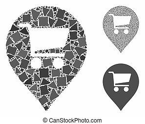 Supermarket map marker Mosaic Icon of Joggly Elements