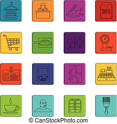 Supermarket navigation icons doodle set - Supermarket...